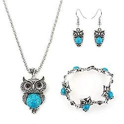 Trifycore Argent Vintage Turquoise Hibou Collier Cristal Collier Boucles d'oreilles Bracelet accessoires pour les femmes de style national