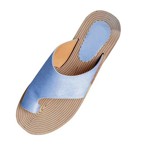WINLISTING Muttertag Sommer Damenmode Rope Flats Strand Hausschuhe Open Toe Sandalen Römersandalen (Blau, 39) -