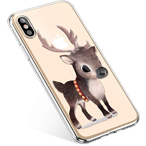 Coque iPhone X ,Coque iPhone 10, Uposao iPhone X Coque Silicone TPU Étui Housse Souple Transparente Motif Noël Cerf Flocon de neige père noël sapin Noël sapin aiguilles de pinbranche boule sapin de Noël décoration Christmas motif Etui Protection Ultra Mince Premium Hybrid cear Case Absorption de Choc Bumper et Anti-Scratch Protector Fonction Bumper Soft Skin Extra Slim Case Coque Pour iPhone X – Cerf