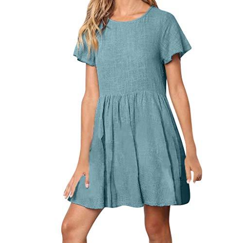 UINGKID Sommerkleid Damen Kleid Tshirt Retro Elegant Kurzarm Minikleid Kleider Boho Leinen Feste Lässige Lose Große Schaukel Mini