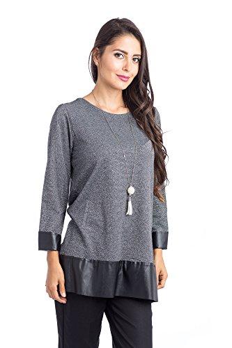 Abbino 5022 Camisa Blusa Top para Müjer - Hecho en ITALIA - 4 Colores - Verano Otoño Invierno Mujeres Femenina Elegante Manga Larga Casual Vintage Fiesta Fashion Rebajas - Gris Antracita