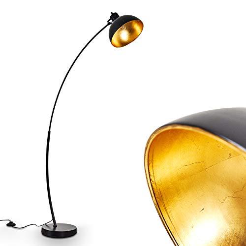 Stehleuchte Parola aus Metall in Schwarz-Gold – Vintage Bodenleuchte – Fluter für Schlafzimmer, Wohnzimmer, Esszimmer – Retro-Standlampe mit großem rundem Lampenschirm und Fußschalter