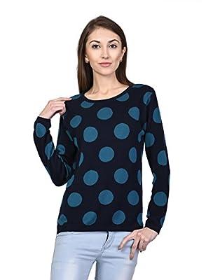 Kalt Women's Cotton Blend Round Neck Full Sleeve Polka Jacquard Sweater (Multicolour, Medium)
