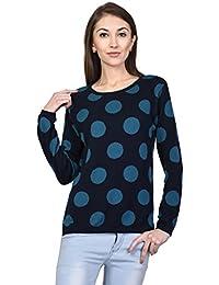 3b4bf26073 Kalt Women s Round Neck Full Sleeve Polka Cotton Blend Jacquard Sweater  (Multicolour