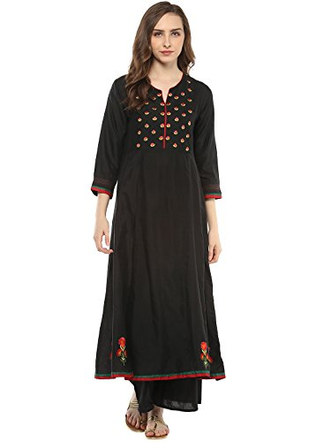 Bhama Couture Black Embroidered Kurta Sets for Women(BCC002)