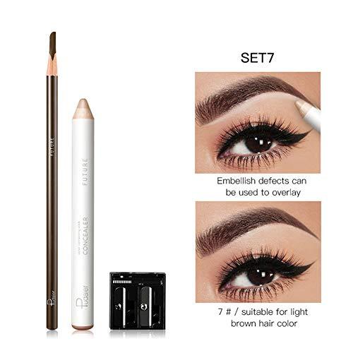 Allouli Eyebrow Pencil Set Concealer Fixing Pen Sharpener 3pcs Set Waterproof Smooth Natural Brow Shaping Makeup Kit