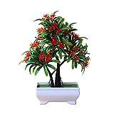 gaeruite simulez Le bonsaï Artificiel de Fleur de Luo Han avec Le Pot de Fleurs en Pot, Fleurs artificielles en Plastique dans Un Vase, Plante Artificielle avec de Fausses Fleurs