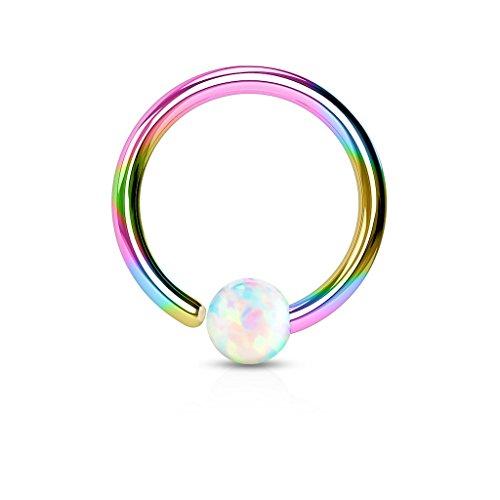 Paula & Fritz Ring aus Edelstahl Chirurgenstahl 316L Regenbogen [Dicke: 0.8mm; Länge: 10mm; Kugelgröße: 2mm] für Lippe, Nase, Augenbraue mit Opal Weiß -