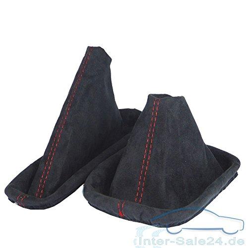 Preisvergleich Produktbild L&P A0128 Schaltsack + Handbremsmanschette aus Alcantara in Schwarz mit roter Naht Rot