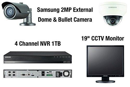 "Preisvergleich Produktbild Samsung 2MP Outdoor 1080p Full HD CCTV-Kamera-Kit mit NVR + 19 ""CCTV-Bildschirm / Monitor (1x Dome 1x Bullet)"
