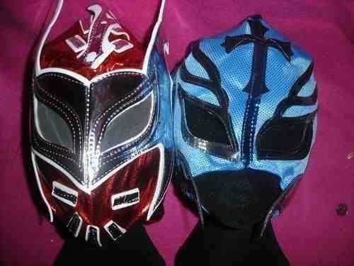 SIN CARA Rot und REY MYSTERIO (farbe will wechselgeld) MASKE PACKUNG SET WWE WRESTLING KOSTÜM VERKLEIDEN OUTFIT ANZUG-ZIP GESCHNÜRT 2013 TAG TEAM Kostüm RAY MISTICO MISTERIO KIND KINDER BRAND NEU (Sin Cara Kostüm Blau)