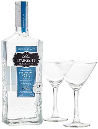 Bleu D'Argent Gin Geschenkset mit 2 Gläsern (1 x 0.7 l) - Bleu-glas