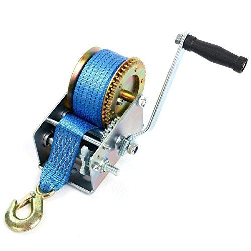 FreeTec Treuil manuel pour câbles 1 130 kg, avec sangle en polyester bleu de 10 m, sauvetage, remorquage