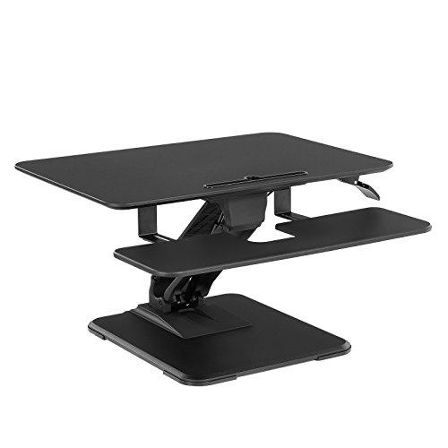 SONGMICS höhenverstellbarer Sitz-Steh-Schreibtisch, mit abnehmbarem Tastaturhalter,Stehpult für...