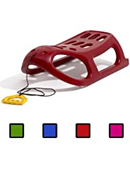 Red strong plastic sledge with metal runners and rope