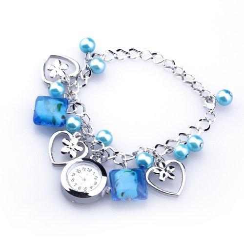 Bracciale Orologio da Polso al Quarzo Rotondo Perline Acrilico Blu Moda
