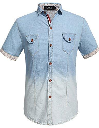 sslr-herren-ombre-denim-kurzarm-shirt-x-large-blau