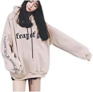 Sumeier Women's Classic Letters Printed Oversized Loose Hoodie Hooded Pullover Sweatshirt Tops with Poc