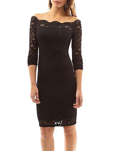 Tkiames Damen Cocktail Kleid Small Gr. Medium, schwarz 2