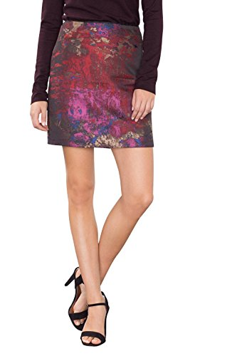 ESPRIT Collection Damen Rock 106EO1D002, Mehrfarbig (Dark Red 2 611), 42