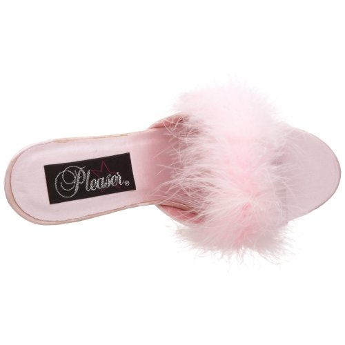 Pleaser - Amour-03, Sandali Donna (B. Pink Satin-Fur)