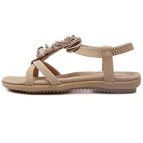 Verão Plana Flores 40 Böhmen Bege Sandálias Sunavy Sapatos 34 Eu De De Decoração ue Senhoras Praia Com Ppx0qSwf