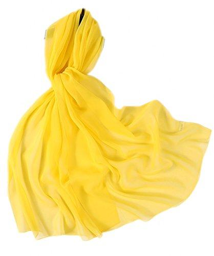 Prettystern - 176CM uni-Farbe leicht unifarbe Seidenstola Crepe Georgette Schal - 2015 hell gelb