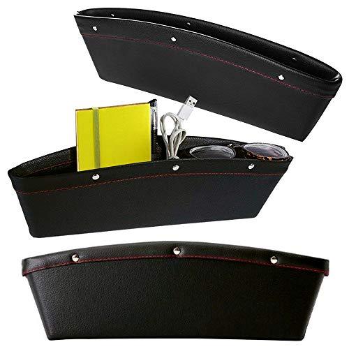 JJOnlineStore-Autositz Seitentasche Caddy Slit Pocket Catcher Storage Organizer Leder Universal flexibel Box Gap bortierte Tasche, innen Auto Zubehör zwischen Sitz und Konsole (schwarz)
