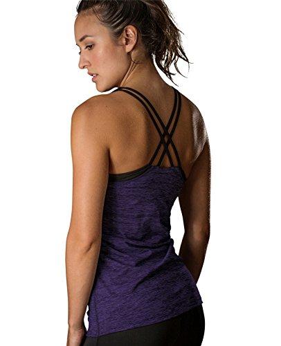 icyzone Damen Fitness Trainings Shirt mit BH - X Rücken Sport Gym Top Oberteile (L, Purple)