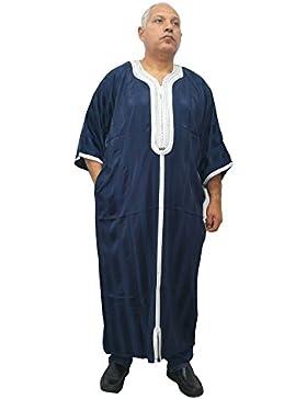 Horus Artesanía de Egipto Chilaba muy amplia de satén color azul, galabeya, caftán, túnica, para hombre modelo...