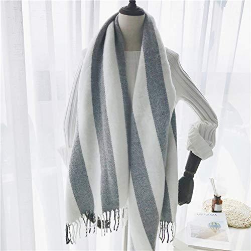 HAZVPO Frauen Cashmere Schals 190X65Cm Weiß Grau Strip Big Shawls
