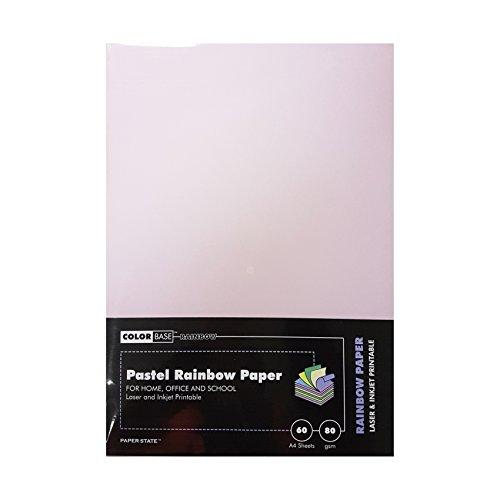 1640 Laser (Farbe Boden 80gsm Papier–Pastel Rainbow (60Stück))