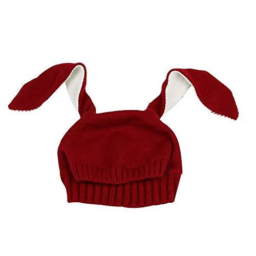 (Kinder Baby Hüte Hasenohren Strickmützen Cute Rabbit Style Hut Junge Mädchen Hüte - Weinrot)