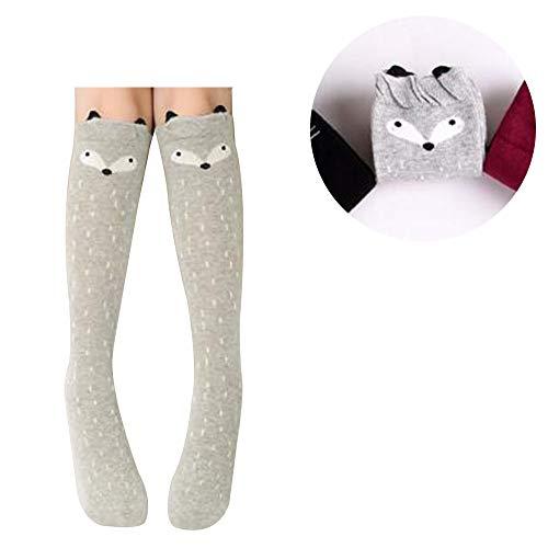 TIMLand Mädchen Kniehohe Socken, Winter Weiche Warme Baumwollstricksocken Über Kalb Knie Tier Cartoon Gemustert für Kinder Grauer Fuchs - 3-12 Years Old -