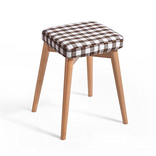 Importé hêtre tabouret haut éponge élastique tissu dressing banc bois massif pour créer des selles à la maison 33 * 33 * 46cm (Color : Brown)
