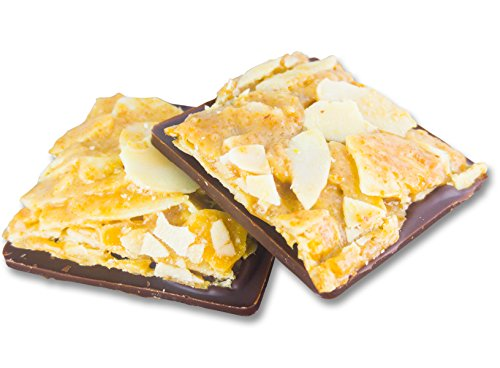 Edelmond Bio Florentiner - karamellisierte Mandel auf 72% Schokolade. Feine Plättchen - eine knackige Süßigkeit (Kaffee Florentiner)