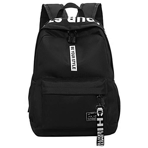 Schulrucksack Schultaschen Mädchen Teenager Rucksack Schultasche Oxford-Tuch Schulrucksäcke Wasserdichte Schulrucksack Backpack Daypacks für Damen Herren geeignet für 15.6 Zoll Laptop Notebook Schwarz