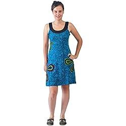 (LMN-5011BLUXL)Vestido azul sin mangas de la Mujer con la flor y Parches Bordados...