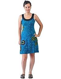 Damen blau ärmelloses Kleid mit Blumenbeeten und Muster