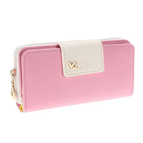 Gosear Frauen Damen PU Leder lange Falte Reißverschluss Geldbörse Karte Geld Cash Handy Hand Geldbörse Wallet Pink (Geldbörse Organizer Legen Handtasche)