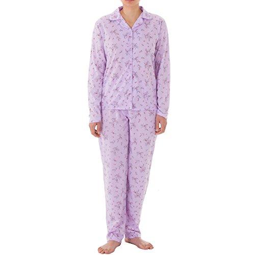 Lucky - Pyjama Set Damen Langarm Pyjama mit Druck und durchgehende Knopfleiste, Größe:L;Farbe:Flieder