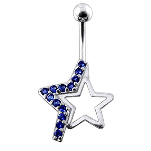 Bijou de Corps anneau de nombril en argent motif Etoile Rock Star avec pierres Dark Blue