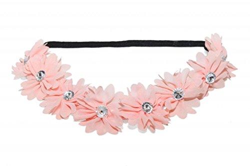 ch Pink Stoff Blume Strass Stretch Stirnband Chiffon Floral Head Band (Kleinkind-partei-bevorzugungen)