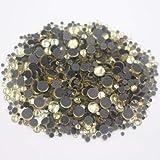 ASTONISH 2500pcs Hot-fix col topacio redondo sólido pegamento-Back piedras de cristal y cristales Strass Crafts tela DIY Rhinestones Rhinestones LT: junquillo, 2500pcs