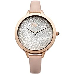 Little Mistress Women's Quartz Watch with Silver Dial Analogue Display and Beige PU Strap LM021