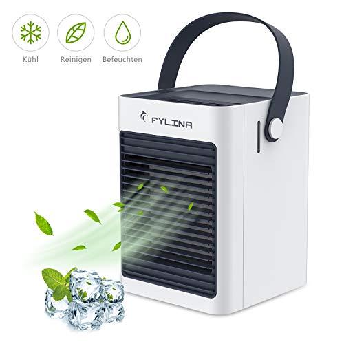 FYLINA Air Cooler 3 in 1 Mobil Klimagerät Tragbarer Persönlicher Raumluftkühler, Luftbefeuchter, Luftreiniger, 3 Lüfterdrehzahl, USB-Aufladung, Super leiser für Home-Office-Schlafzimmer im Freien