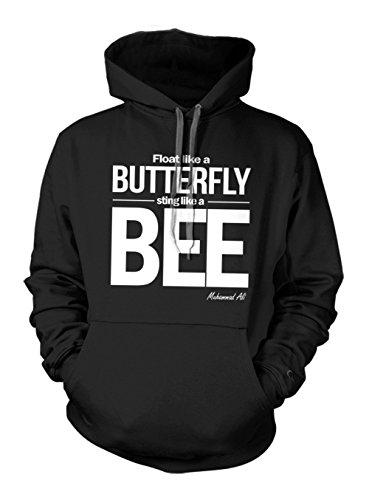Fly Like A Butterfly Sting Like A Bee Muhammad Ali Zitat Hoodie Sweatshirt Schwarz Medium
