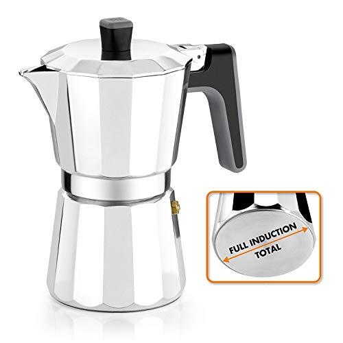 BRA Perfecta - Cafetera Italiana Inducción, Aluminio, capacidad 6 tazas, color plata