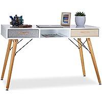 Relaxdays Bureau, Design scandinave, 3 Compartiments, 2 tiroirs, Table d'Ordinateur HxLxP env. 74x125x60 cm Bois Blanc