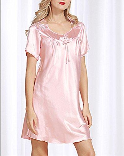 Donna Con Babydoll Lingerie Ricamo Bella Pigiama Mini camicia da notte Cammello Gomma Rosso